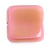 Glass Bead Squares 9mm Rose/Olive Striped - Strung